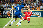Bayern Munich Defender Rafinha de Souza (R) trips up with Chelsea Defender Marcos Alonso (L) during the International Champions Cup match between Chelsea FC and FC Bayern Munich at National Stadium on July 25, 2017 in Singapore. Photo by Weixiang Lim / Power Sport Images