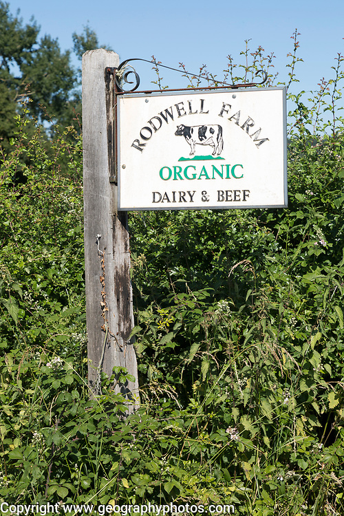 Sign at Rodwell Farm, organic dairy and beef farm, Compton Bassett, near Calne, Wiltshire, England, UK