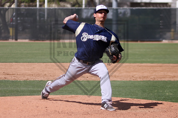 MARYVALE - March 2014: Zach Quintana of the Milwaukee Brewers during a spring training game against the Oakland Athletics on March 18th, 2014 at Maryvale Baseball Park in Maryvale, Arizona.  (Photo Credit: Brad Krause)