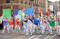 PHILADELPHIA - JANUARY 1:  Members of the Broomall String Band perform during the 2011 Mummers Parade in Philadelphia, Pennsylvania. Thousands of people enjoyed the warmer weather and watched the parade, which has been around for over 100 years. (Photo by William Thomas Cain/Getty Images)