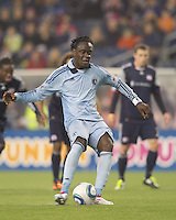 Sporting Kansas City midfielder Kei Kamara (23) scores on a penalty kick. In a Major League Soccer (MLS) match, the New England Revolution defeated Sporting Kansas City, 3-2, at Gillette Stadium on April 23, 2011.