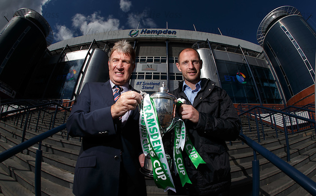 Sandy Jardine of Rangers and Allan Johnston of Queen of the South at the Ramsdens Cup draw today
