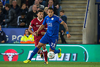 Leonardo Ulloa of Leicester City & Alex Oxlade-Chamberlain of Liverpool during the football league cup Carabao Cup 3rd round match between Leicester City and Liverpool at the King Power Stadium, Leicester, England on 19 September 2017. Photo by Andy Rowland.