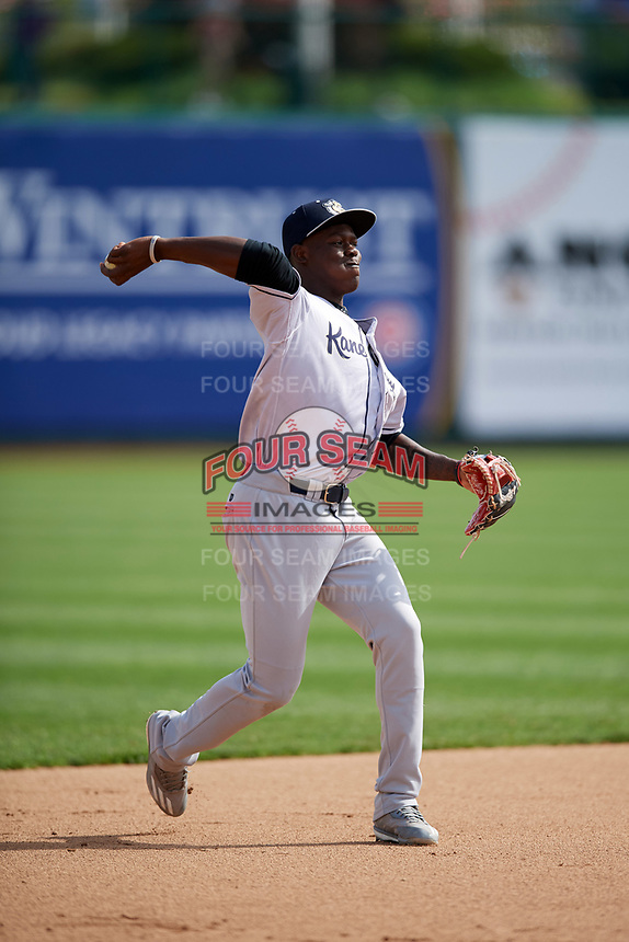 Kane County Cougars shortstop Jasrado Chisholm (3) warmup throw to first base during a game against the South Bend Cubs on May 3, 2017 at Four Winds Field in South Bend, Indiana.  South Bend defeated Kane County 6-2.  (Mike Janes/Four Seam Images)