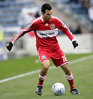 Chicago Fire midfielder Marco Pappa (16) looks for room to maneuver.  Pappa scored the game's only goal.  The Chicago Fire defeated the New York Red Bulls 1-0 at Toyota Park in Bridgeview, IL on April 5, 2009. Photo by Tracy Allen / isiphotos.com