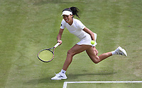 Su-Wei Hsieh (TPE) during her match against Karolina Pliskova (CZE)  in their Ladies' Singles Third Round match<br /> <br /> Photographer Rob Newell/CameraSport<br /> <br /> Wimbledon Lawn Tennis Championships - Day 5 - Friday 5th July 2019 -  All England Lawn Tennis and Croquet Club - Wimbledon - London - England<br /> <br /> World Copyright © 2019 CameraSport. All rights reserved. 43 Linden Ave. Countesthorpe. Leicester. England. LE8 5PG - Tel: +44 (0) 116 277 4147 - admin@camerasport.com - www.camerasport.com