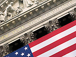 Close up of front of flag draped New York Stock Exchange in New York City.