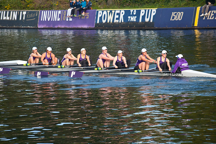 Rowing, Seattle, The Husky Open, April 4 2015, rowing regatta, Montlake Cut, University of Portland, Womens Second Varsity eight, College W 2V8, crew, Washington State, Pacific Northwest, USA, rowers, racing, sports, water sports, rowing boats, rowing race, regatta, competition,