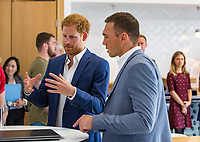 Picture by Paul Currie/SWpix.com - 04/09/2017 - Rugby League - Prince Harry Visits the Rugby  League - Manchester City Football Academy, Manchester, England - Prince Harry talks to kevin Sinfield during the visit