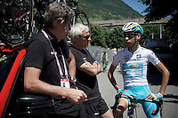 maglia bianca Fabio Aru (ITA/Astana) chatting with DS Valerio Piva of BMC before the start<br /> <br /> stage 17: Tirano - Lugano (SUI) (134km)<br /> 2015 Giro d'Italia