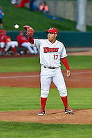 Orem Owlz starting pitcher Jose Suarez (17) during the game against the Billings Mustangs in Game 2 of the Pioneer League Championship at Home of the Owlz on September 16, 2016 in Orem, Utah. Orem defeated Billings 3-2 and are the 2016 Pioneer League Champions. (Stephen Smith/Four Seam Images)