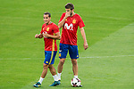 Lucas Vazquez and Gerard Pique during Spain training session at Santiago Bernabeu Stadium in Madrid, Spain September 01, 2017. (ALTERPHOTOS/Borja B.Hojas)