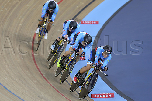 04.03.2016. Lee valley Velo Centre. London England. UCI Track Cycling World Championships Womens Team Pursuit.  Team Canada   BEVERIDGE Allison - GLAESSER Jasmin - LAY Kirsti - SIMMERLING Georgia