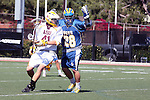 Orange, CA 05/01/10 - Stickless Jamie Bridgman (UCSB # 28) raises his hands at the referees as Leland McCluskey (ASU # 41) turns to find the loose ball during the UC Santa Barbara-Arizona State MCLA SLC semi-final game in Wilson Field at Chapman University.  Arizona State advanced to the final by defeating UC Santa Barbara 13-9.