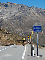 Schweiz, Graubuenden, einzelner Radfahrer erreicht den Berninapass (Passo del Bernina) | Switzerland, Graubuenden, single cyclist reaches Bernina Pass (Passo del Bernina)