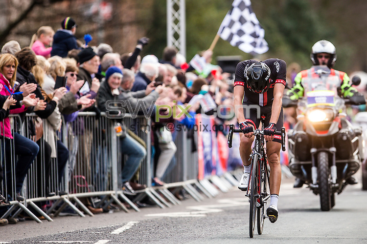 Picture by Alex Whitehead/SWpix.com - 04/04/2015 - British Cycling - Spring Cup Elite Series - Chorley Grand Prix, Chorley, England - NFTO's Ian Bibby celebrates the win.