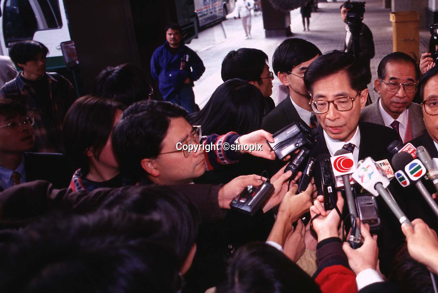 HONG KONG: 080196: MARTIN LEE: <br /> <br /> Martin Lee at a press conference prior to meeting Tung Chee Hwa 08 Jan.