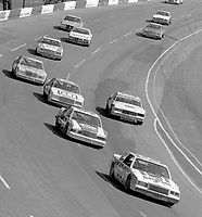 Bobby Allison leads a pack of cars into the third turn at Atlanta in November 1982. (Photo by Brian Cleary)