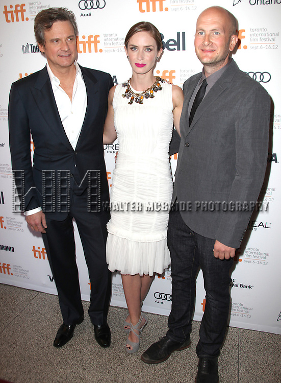 Colin Firth, Emily Blunt and director Dante Ariola attending the The 2012 Toronto International Film Festival.Red Carpet Arrivals for 'Arthur Newman' at the Elgin Theatre in Toronto on 9/10/2012
