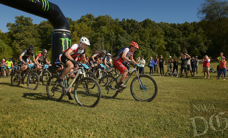 NWA Democrat-Gazette/BEN GOFF @NWABENGOFF<br /> Riders start category 2 and 1 races on Sunday Oct. 2, 2016 during the annual Slaughter Pen Jam at the Slaughter Pen trails in Bentonville. Sunday concluded the three-day festival with cross country races that were part of the Monster Energy Arkansas Mountain Bike Championship Series.