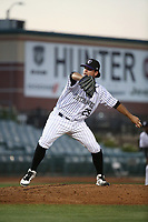 Helmis Rodriguez (29) of the Lancaster JetHawks pitches against the Lake Elsinore Storm at The Hanger on June 14, 2017 in Lancaster, California. Lancaster defeated Lake Elsinore, 4-0. (Larry Goren/Four Seam Images)