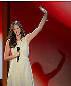 American recording artist and former NCAA basketball player Ayla Brown, daughter of United States Senator Scott Brown (Republican of Massachusetts) sings the National Anthem at the 2012 Republican National Convention in Tampa Bay, Florida on Wednesday, August 29, 2012.  .Credit: Ron Sachs / CNP.(RESTRICTION: NO New York or New Jersey Newspapers or newspapers within a 75 mile radius of New York City)