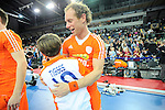 Leipzig, Germany, February 08: Players of The Netherlands celebrate after defeating Austria 3-2 (2-1) in the men gold medal match between The Netherlands (orange) and Austria (white) on February 8, 2015 at the FIH Indoor Hockey World Cup at Arena Leipzig in Leipzig, Germany. (Photo by Dirk Markgraf / www.265-images.com) *** Local caption ***