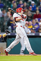 Nebraska Cornhuskers outfielder Ryan Boldt (21) swings the bat during the Houston College Classic against the LSU Tigers on March 8, 2015 at Minute Maid Park in Houston, Texas. LSU defeated Nebraska 4-2. (Andrew Woolley/Four Seam Images)