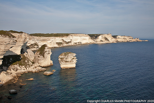 The southern coast of Corsica near Bonifacio is composed of chalky white cliffs.