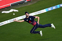 England's Mark Wood attempts a catch on the square leg boundary during the Third ODI game between Black Caps v England, Westpac Stadium, Wellington, Saturday 03rd March 2018. Copyright Photo: Raghavan Venugopal / © www.Photosport.nz 2018