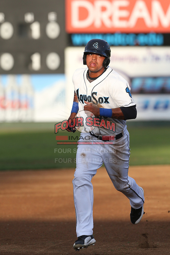 Corey Simpson #36 of the Everett AquaSox runs the bases during a game against the Boise Hawks at Everett Memorial Stadium on July 22, 2014 in Everett, Washington. Everett defeated Boise, 6-0. (Larry Goren/Four Seam Images)