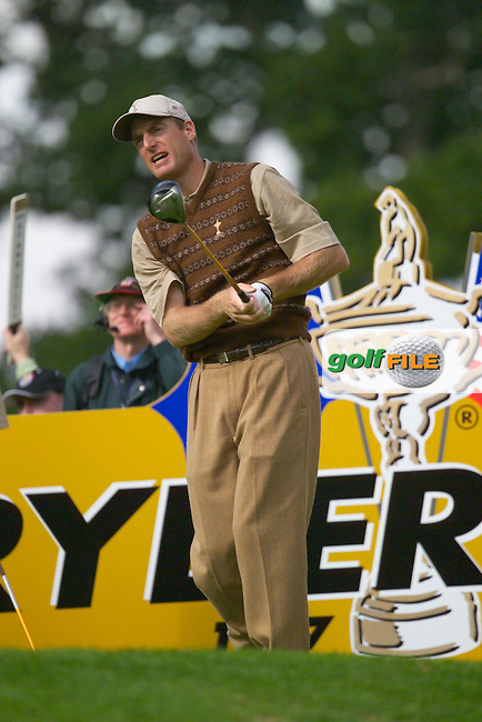 Straffin Co Kildare Ireland. K Club Ruder Cup...Jim Furyk on the 15th tee on practice day 3 at the K Club in Straffan, Co Kildare, Ireland, 21 September 2006. The Ryder Cup competition between the American and European teams starts 22 September...Photo: Eoin Clarke/ Newsfile..