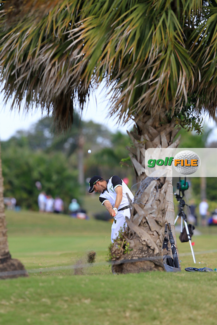 Sergio Garcia (ESP) plays his 2nd shot from the rough on the 8th hole during Sunday's Final Round of the WGC Cadillac Championship at TPC Blue Monster, Doral Golf Resort & Spa, Miami Florida, 11th March 2012 (Photo Eoin Clarke/www.golffile.ie)