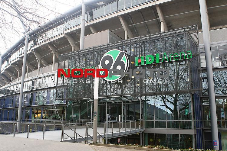 14.12.2013, HDI Arena, Hannover, GER, 1.FBL, Hannover 96 stellt Tayfun Korkut als neuen Trainer vor, im Bild der Eingang zur HDI Arena <br /> <br /> Foto &copy; nph / Schrader