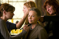 "8 May 2006 - North Bergen, NJ - French actress Leslie Caron (2R) gets her hair and makeup retouched on the studio set of television show ""Law & Order: SVU"" in North Bergen, USA, 8 May 2006. In this rare appearance in front of American television cameras, Caron, 74, plays a French victim of past sexual molestation in an episode entitled ""Recall"" due to air in the fall. Caron starred in Hollywood classics such as ""An American in Paris"" (1951), ""Lili"" (1953), ""Gigi"" (1958). More recently she appeared in ""Chocolat"" (2000) and ""Le Divorce"" (2003). Photo Credit: David Brabyn"