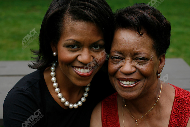 Michelle Obama, wife of Democratic presidential candidate Barack Obama, with her mother, Marian Robinson, visit the New Hampshire Women for Obama Kick-Off Fair in  Concord, New Hampshire, June 2, 2007.