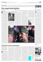 die tageszeitung taz (German daily) on right wing extremism in Hungary, 2013.02.16.<br /> Photo: Martin Fejer