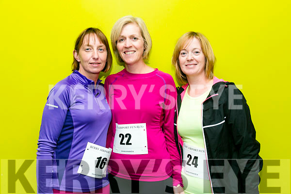 Pauline Walsh, Eleanor Stack and Sharon O'Sullivan from Castlemaine, Causeway and Abbeydorney at the Kerry Airport Runway 5k Fun Run 7th October in aid of Cystic Fibrosis supported by The Rugby clubs of West Munster sponsored by Garveys Supervalu Group