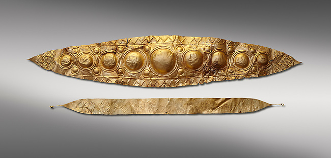 Mycenaean Gold diadems from Grave IV, Grave Circle A, Myenae, Greece. National Archaeological Museum Athens. 16th Cent BC. Grey Background<br /> <br /> Top: Mycenaean Gold diadem with repousse circles and rosettes Cat No 232<br /> <br /> Bottom: Elegant Mycenaean gold daidem with fastening loops and dotted decoration. Three diamond shaped pendant hung from chains. Cat no 236.