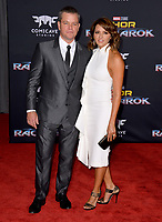 Matt Damon &amp; Luciana Barroso at the premiere for &quot;Thor: Ragnarok&quot; at the El Capitan Theatre, Los Angeles, USA 10 October  2017<br /> Picture: Paul Smith/Featureflash/SilverHub 0208 004 5359 sales@silverhubmedia.com