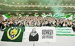 BETALBILD Solna 2015-03-07 Fotboll Allsvenskan AIK - Hammarby IF :  <br /> Hammarbys supportrar med flaggor och en banderoll med texten &quot;Kennedy - v&aring;r fr&auml;lsare&quot; under matchen mellan AIK och Hammarby IF <br /> (Foto: Kenta J&ouml;nsson) Nyckelord:  AIK Gnaget Friends Arena Svenska Cupen Cup Derby Hammarby HIF Bajen supporter fans publik supporters