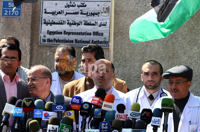Palestinian official of the Ministry of Health in Gaza strip speaks during press conference in a protest in front of Egyptian Embassy in Gaza, calling for supplying the Gaza Strip with enough fuel on Mar.06, 2012. Photo by Ashraf Amra