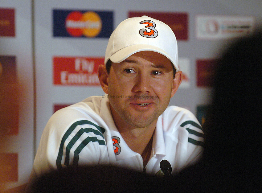 Photo: Steve Holland..Test Match Series. Australia v ICC World XI. 13/10/2005. World Training session..Australian captain Ricky Ponting speaks at a press conference.