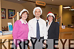 Staff from the Cahersiveen Credit Union are getting into the Christmas spirit pictured here l-r; Colette O'Connor, John Casey & Elma Shine(Manager CCU).