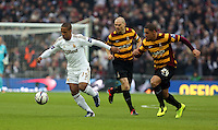 Pictured: (L-R) Wayne Routledge, Gary Jones, Nathan Doyle. Sunday 24 February 2013<br /> Re: Capital One Cup football final, Swansea v Bradford at the Wembley Stadium in London.
