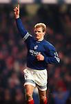 Gordon Durie celebrates scoring a penalty at Ibrox against Kilmarnock