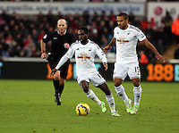 Pictured L-R: Nathan Dyer and Wayne Routledge of Swansea Saturday 10 January 2015<br />