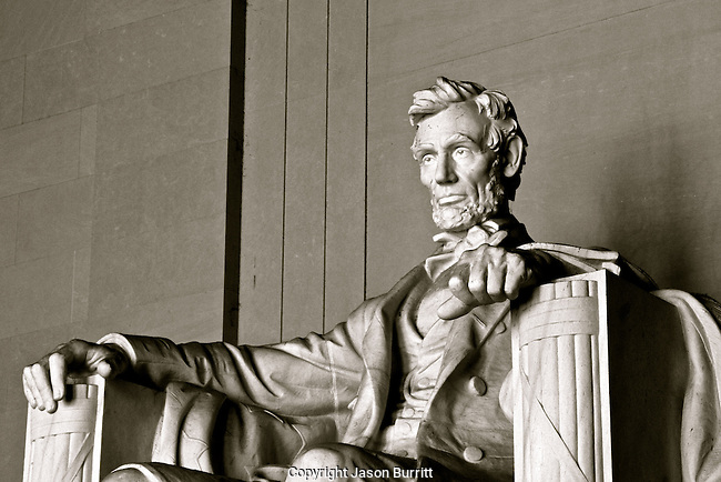 Abraham Lincoln Sculpture Black and White
