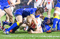 Picture by Allan McKenzie/SWpix.com - 09/03/2018 - Rugby League - Betfred Super League - Warrington Wolves v St Helens - Halliwell Jones Stadium, Warrington, England - St Helens's Luke Thompson is stopped short of the try line by Warrington's Stefan Rathcford & Chris Hill.