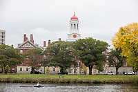 The crimson dome of Dunster House is seen above the so-called River Houses, dorms for upperclassmen undergraduate students at Harvard, across the Charles River at Harvard University in Cambridge, Massachusetts, USA, on Mon., Oct 15, 2018.